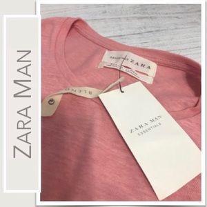 Zara Man Essentials Pink Linen Blend T-Shirt NWT